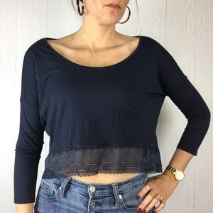 Abercrombie 3/4 Sleeve Cropped Top Lace Boat Neck
